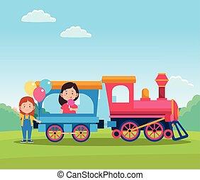 meninas, trem, desenho, crianças, feliz, caricatura, dia