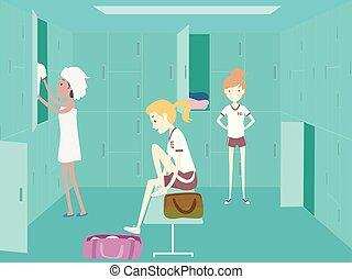 meninas, uniforme, estudante universitário, pe, mudança,...