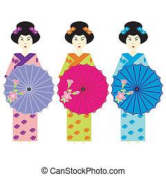 meninas, vestido, japoneses, três