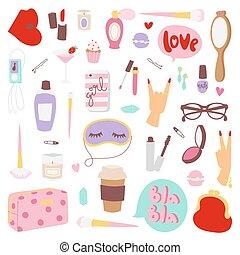 meninas, vetorial, moda, illustration., ícones