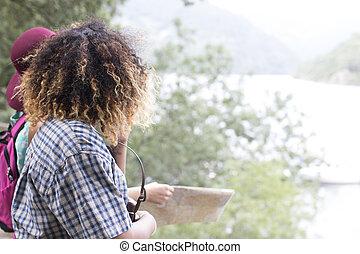 meninas, viagem, observar, a, paisagem, de, natureza
