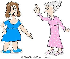 mening, anders, twee vrouwen