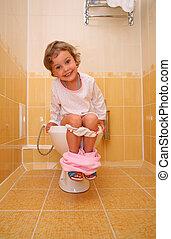 menininha, é, sentando banheiro