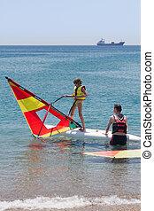 menininha, aprendizagem, windsurfing