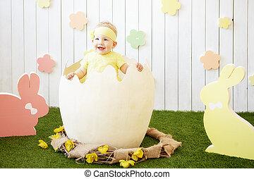 menininha, casca ovo, ao redor, amarela, coelhos, vestido