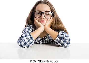 menininha, com, óculos