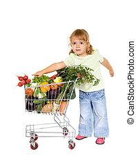 menininha, com, alimento saudável