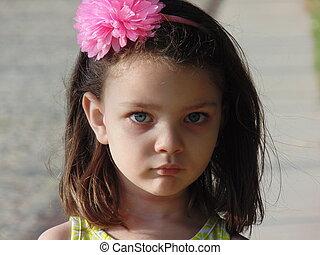 menininha, com, azul, eyes.