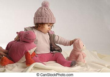 menininha, com, brinquedos