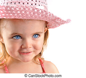 menininha, com, cor-de-rosa, chapéu, closeup, branco