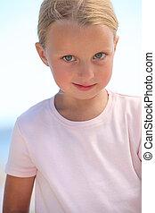 menininha, com, deep-blue, olhos