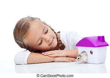 menininha, com, dela, hamster