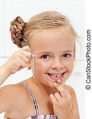 menininha, com, dela, primeiro, ausente, leite, dente