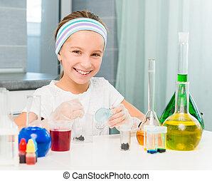 menininha, com, frascos, para, química