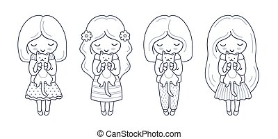 menininha, com, gatinho, em, dela, hands., jogo, de, cute,...