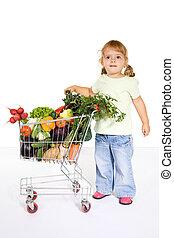 menininha, com, legumes, em, um, carro shopping