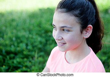menininha, com, olhos azuis, exterior