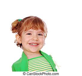 menininha, com, sorriso grande