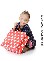 menininha, com, um, pacotes, isolado