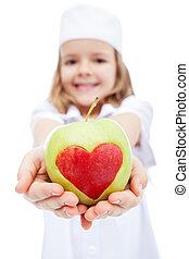 menininha, como, enfermeira, dar, tu, um, maçã