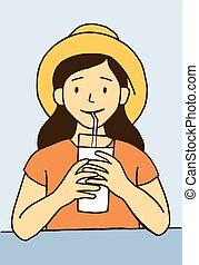 menininha, copo grande, leite bebendo, feliz