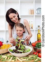 menininha, cozinhar, com, dela, mãe