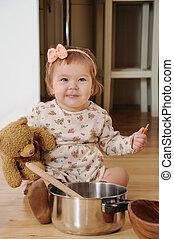 menininha, cozinhar, com, urso teddy