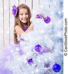 menininha, decorado, árvore natal