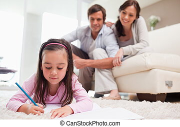 menininha, desenho, com, dela, pais, em, a, fundo