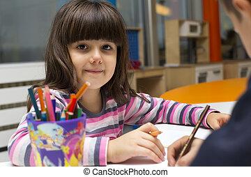 menininha, desenho, em, playroom