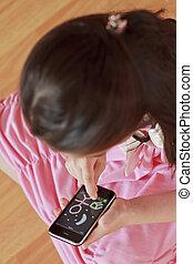 menininha, desenho, ligado, modernos, tela toque, telefone