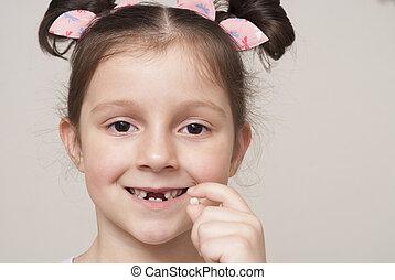 menininha, e, um, leite, dente