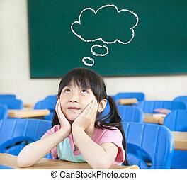 menininha, em, a, sala aula, com, pensando, nuvem, símbolo