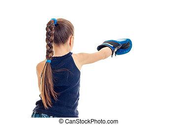menininha, em, azul, luvas, prática, boxe, habilidades