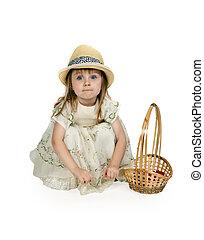menininha, em, um, chapéu palha, com, um, cesta