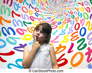 menininha, faça, não, saber, como, para, resolva, um,...