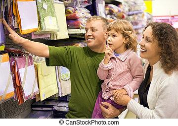 menininha, família, bedding, compra, supermercado