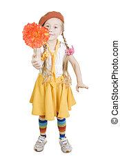 menininha, ficar, e, segurando, um, flower.