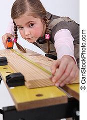 menininha, fingir, para, ser, carpinteiro