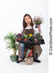 menininha, fingir, para, ser, floricultor