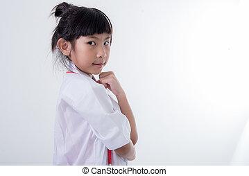 menininha, fingir, para, ser, um, doutor, branco, fundo