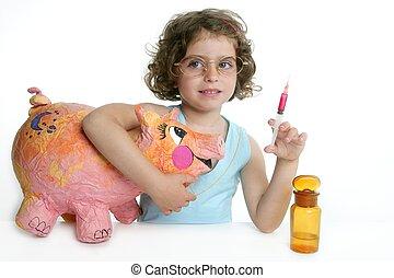 menininha, fingir, ser, veterinário, com, um, porca