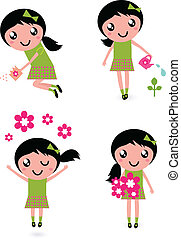 menininha, flores, isolado, cute, primavera, branca