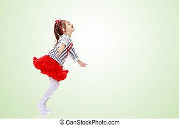 menininha, jumping.