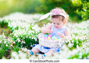 menininha, ligado, páscoa ovo caça