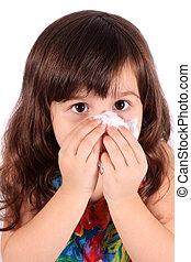 menininha, limpando nariz, com, tecido