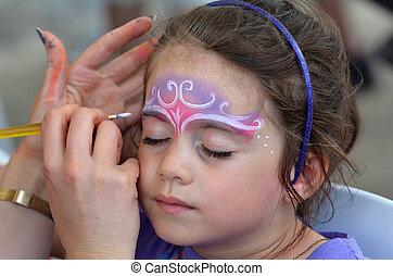 menininha, obtendo, dela, rosto, pintado, por, pintura cara,...