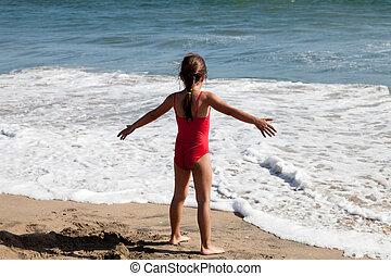 menininha, oceânicos, esperando, onda