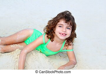 menininha, paleto, sorrindo, praia, crianças, arenoso,...