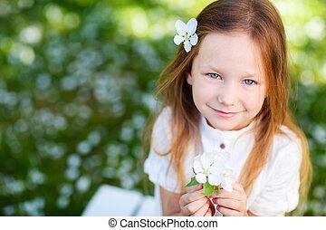 menininha, primavera, retrato